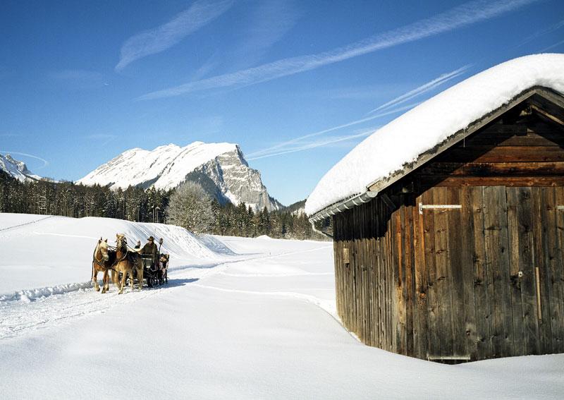 Pferdekutschenfahrt durch die Winterlandschaft in Vorarlberg