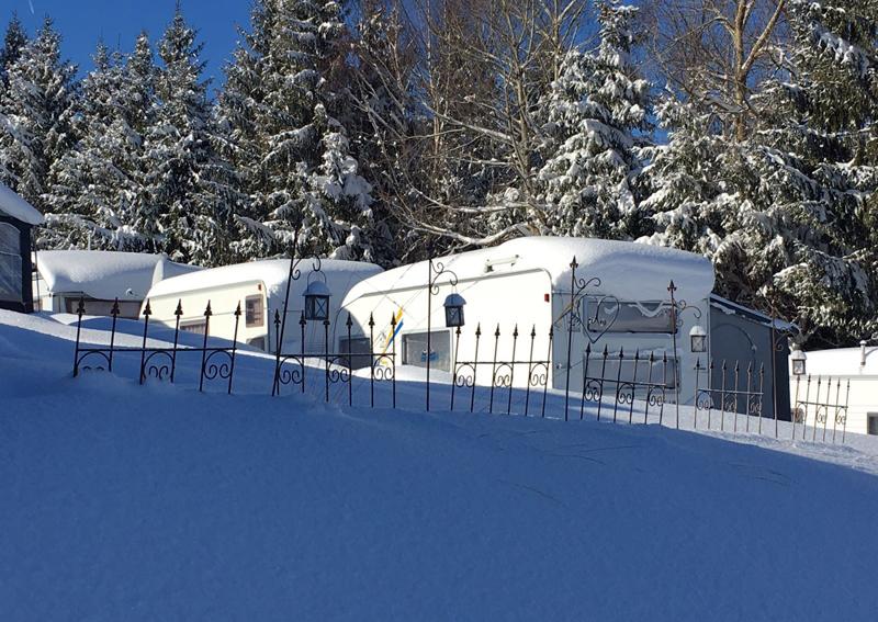 Campingplatz im Winter in Vorarlberg