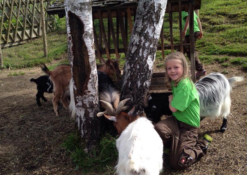 Spielende Kinder erleben die Ziege aus nächster Nähe in Vorarlberg